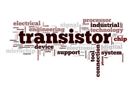 transistor: Transistor de nube de palabras Foto de archivo