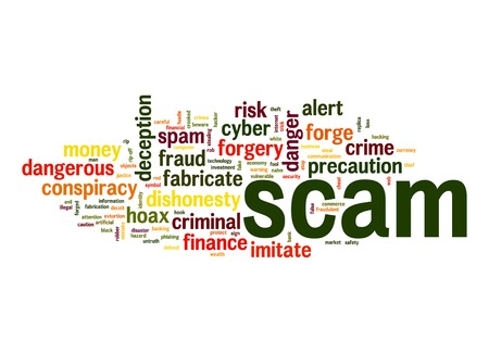 scam: Scam word cloud Stock Photo