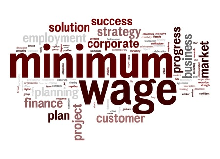 Minimum wage word cloud Imagens