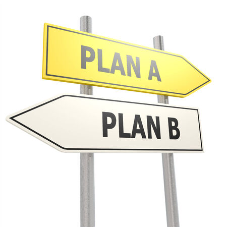 road to recovery: Plan A B road sign