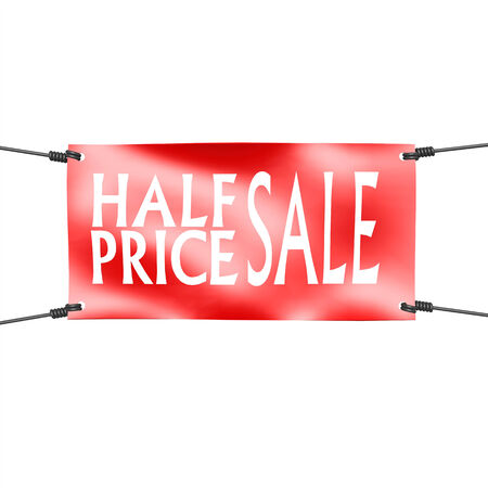 half price: Banner half price sale with four ropes on the corner