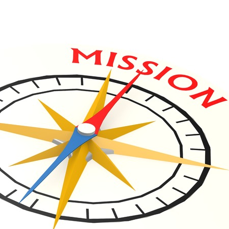 Compass with mission word Foto de archivo