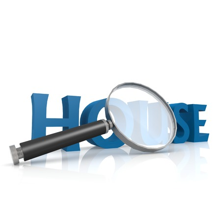 housing estate: Magnifying glass with blue house word Stock Photo