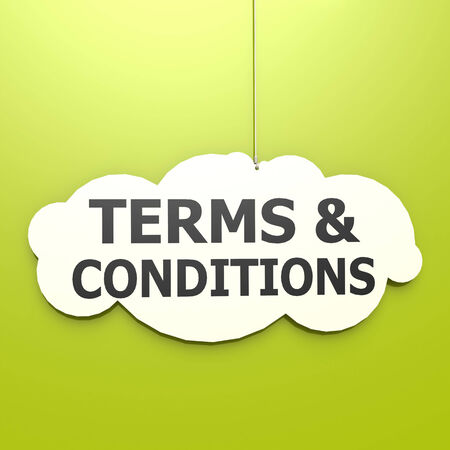 Terms and conditions word in green background Stock Photo