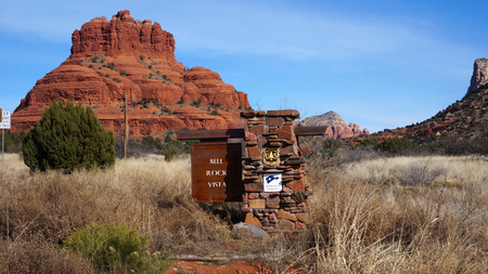 Bell Rock is a popular tourist attraction just north of the Village of Oak Creek, Arizona.