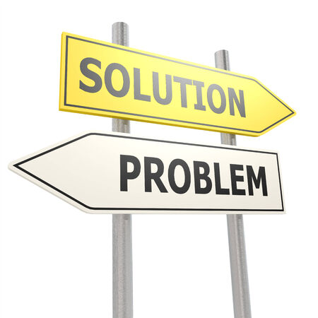 problem solution: Problem solution road sign Stock Photo
