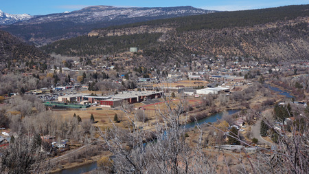 capital of colorado: Landscape of the buildings of the downtown in Durango, Colorado Stock Photo