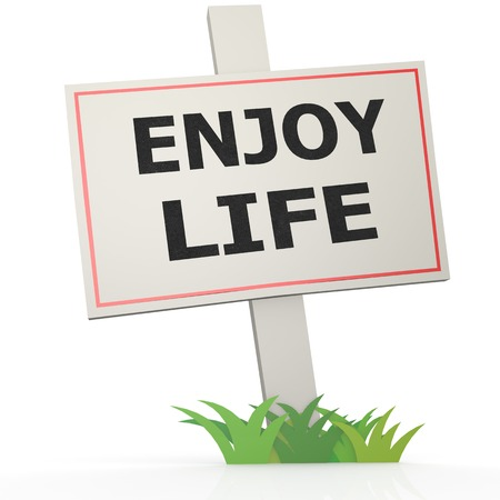 White banner with enjoy life