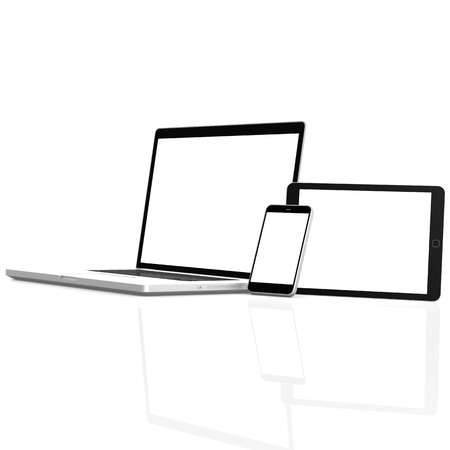 Isolated mobile devices Stock Photo