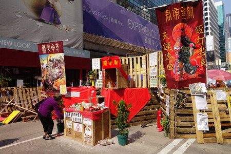 HONG KONG, NOV 23: Roadblock is being set up to prevent police to conduct the raid in Mong Kok, Hong Kong on 23 November 2014. Hong Kong activists are fighting for their right to choice for the next chief executive.