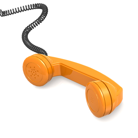 telephone receiver: Orange telephone receiver Stock Photo