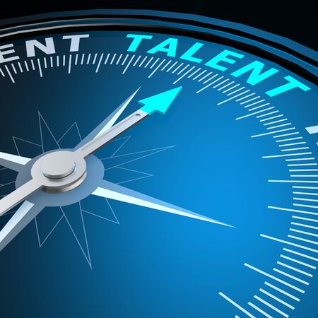 Talent word on compass Foto de archivo