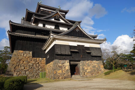 feudal: SHIMANE, JAPAN - DECEMBER 06: Front view of Matsue samurai feudal castle in Shimane prefecture on December 06, 2014., This castle also known as Black castle in Shimane prefecture.