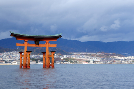 MIYAJIMA, JAPAN - DECEMBER 12: Itsukushima Shrine at December 12, 2014 in Miyajima, Japan. Miyajima is a shinto holy site and listed in the World heritage of UNESCO. Editorial