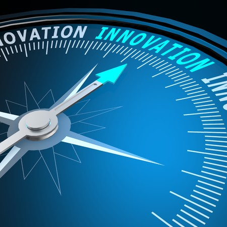 innovation word: Innovation word on compass Stock Photo