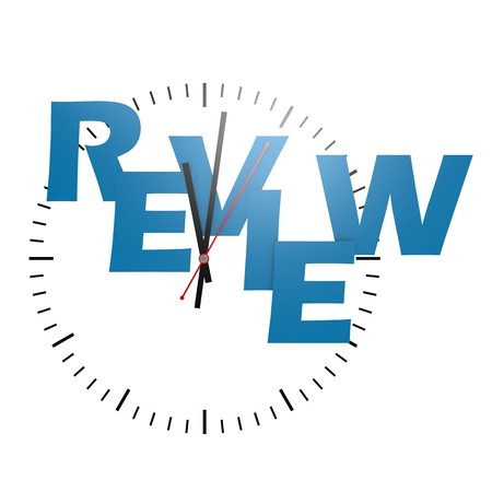 test deadline: Review word with clock Stock Photo