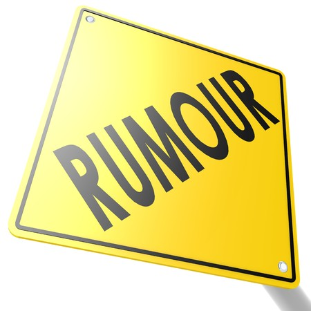 defamation: Road sign with rumour Stock Photo