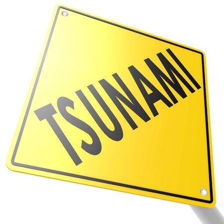 tsunami: Road sign with tsunami