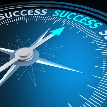 Success word on compass Foto de archivo