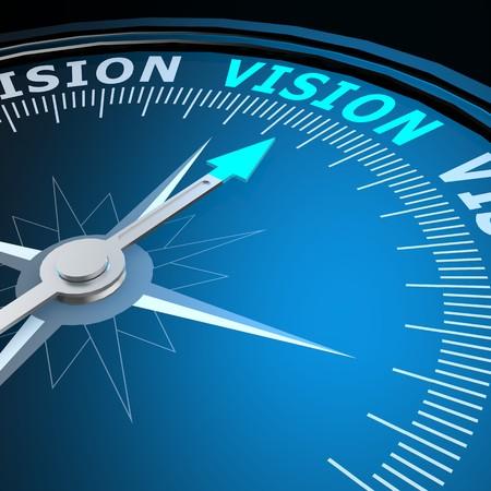 Vision Wort auf Kompass