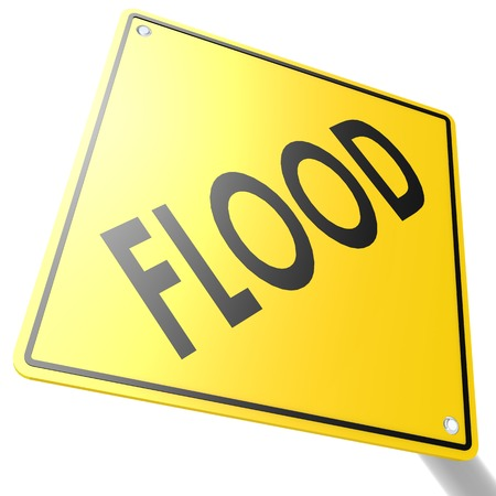 weather protection: Road sign with flood image with hi-res rendered artwork that could be used for any graphic design.