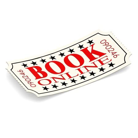 ticketing: Book online ticket on white background Stock Photo