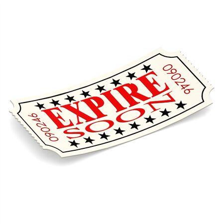 expire: Expire soon ticket on white background