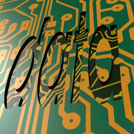 word processors: PCB and data word Stock Photo