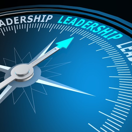 Leadership word on compass Imagens
