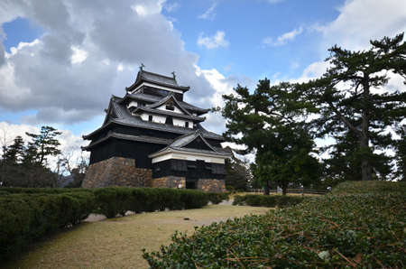 feudal: SHIMANE, JAPAN - DECEMBER 06: A vew of Matsue samurai feudal castle in Shimane prefecture on December 06, 2014., This castle also known as Black castle in Shimane prefecture.