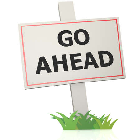 ways to go: White banner with go ahead