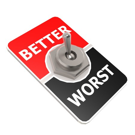 better: Worst better toggle switch Stock Photo