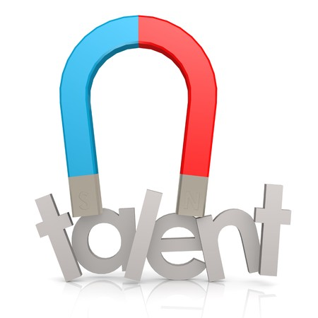 Magnet and talent word Stockfoto