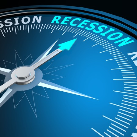 recession: Recession word on compass