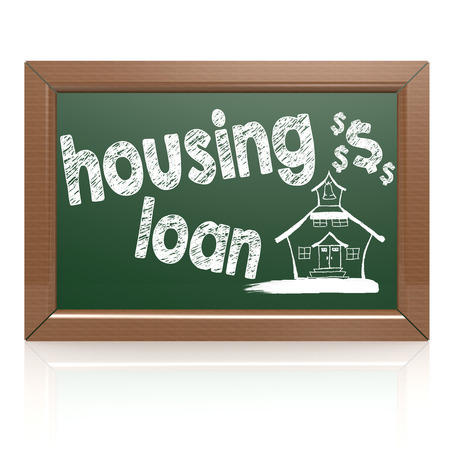 housing loan: Housing loan words on a chalkboard image with hi-res rendered artwork that could be used for any graphic design.