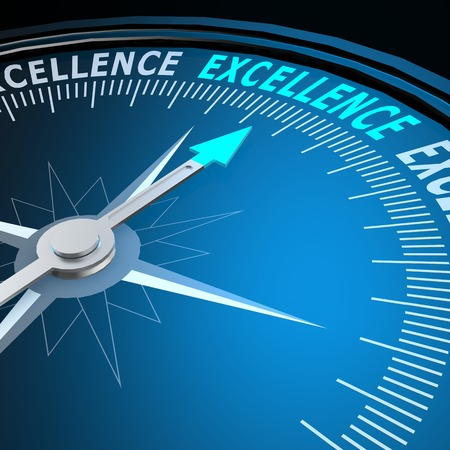 Excellence word on compass image with hi-res rendered artwork that could be used for any graphic design.