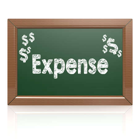 expense: Expense word on chalkboard image with hi-res rendered artwork that could be used for any graphic design. Stock Photo