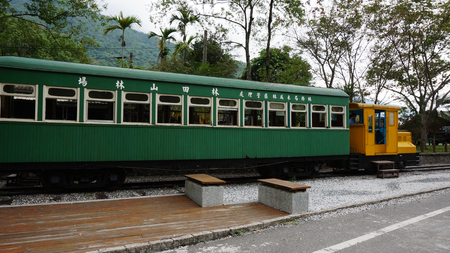 forestry: HUALIEN, TAIWAN - NOV 27: A old train located in Lin Tian Shan Forestry Center, Hualien, Taiwan on November 27, 2014. Itwas the fourth largest forestry center in Taiwan Editorial