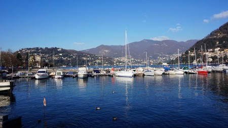 mornings: Yachts on their mornings, Tremezzo, Lake Como, Lombardy, Italy
