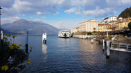 COMO, ITALY, JAN 26: Resort town at Lake Como in Varenna, Italy on January 26, 2015. Lake Como is the third largest lake in Italy and the most visited resort near Milan.