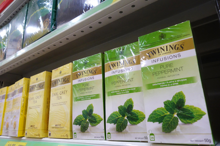 herbs boxes: JOHOR, MALAYSIA-23 MAR:Shelves filled with Twinings tea in retail market in Johor, Malaysia on March 23, 2015. Twinings is an English marketer of tea, based in Andover, Hampshire.