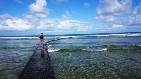 Landscape of Pacific Ocean coast, Green Island, Taiwan Standard-Bild