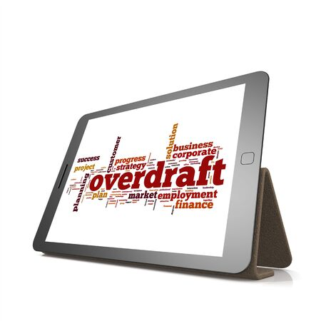 overdraft: Overdraft word cloud on tablet image with hi-res rendered artwork that could be used for any graphic design. Stock Photo