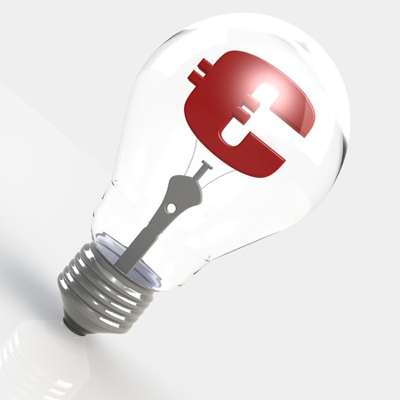 tungsten: Euro sign in the light bulb image with hi-res rendered artwork that could be used for any graphic design. Stock Photo