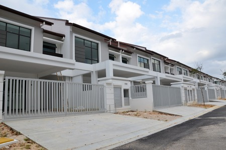 Newly built terrace house under the blue skies 写真素材