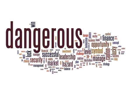 risky: business; concept; management; danger; risky; risk; solution; challenge; investment; chance; safety; dangerous; luck; security; hazard; market; level; caution; word; cloud; tag