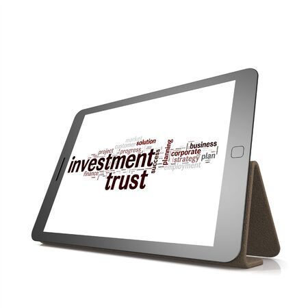 trading board: Investment trust word cloud on tablet image with hi-res rendered artwork that could be used for any graphic design.