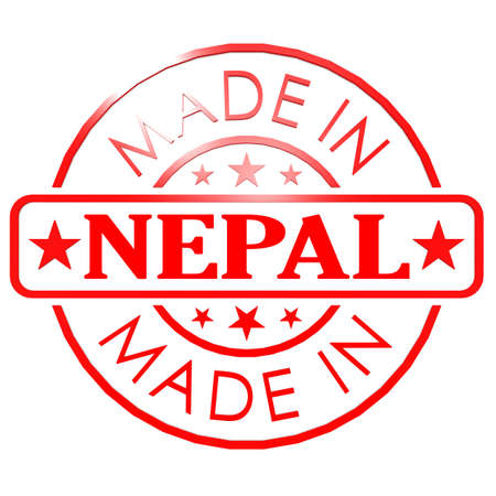 could: Made in Nepal red seal image with hi-res rendered artwork that could be used for any graphic design. Stock Photo