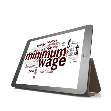 minimum wage: M�nimo nube de palabras salario tablilla con hi-res prestados obra que podr�a ser utilizado para cualquier dise�o gr�fico.