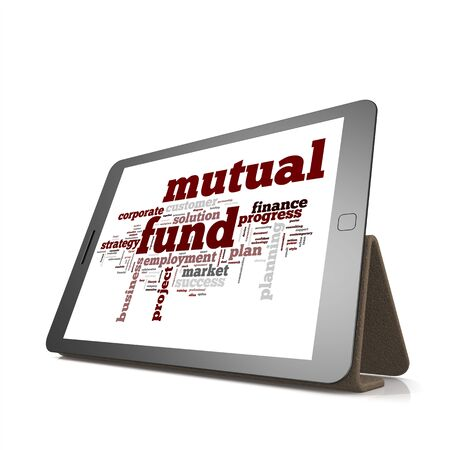 mutual fund: Mutual fund word cloud on tablet image with hi-res rendered artwork that could be used for any graphic design.